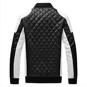 Motorcycle PU Leather Diamond Lattice Stand Collar Black and White Plus Size Jacket For Men