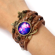 Butterfly Multicolor Galaxy Time Leather Bracelets