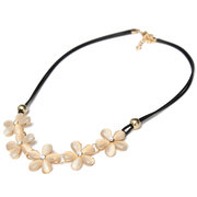 Crystal Flower Charm Choker Chunky Necklace