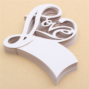 50Pcs LOVE Shape Wedding Name Place Cards  Wine Glass Laser Cut Pearlescent Card Party Accessories
