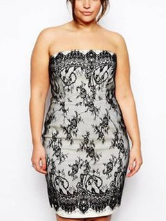 Plus Size Off Shoulder Lace Splicing Sexy Dress