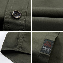 Summer Mens Military Double Pocket Solid Color Casual Short Sleeve Cotton Plus Size Shirt