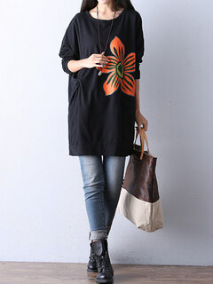 Autumn Casual Loose Flower Printing Round Neck Long Sleeve Blouse For Women