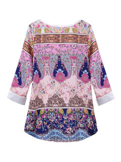 Ethnic Floral Printed Quarter Women Casual  Chiffon Blouse