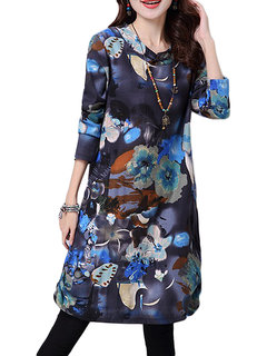 Thick Vintage Women Flower Printed Linen Long Sleeve Dress