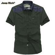 Jeep Rich Plus Size Summer Mens Casual Cotton Slim Fit Short Sleeve Shirts