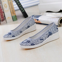 Big Size Canvas Embroidery Pattern Pure Color Slip On Wedge Heel Casual Shoes