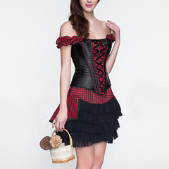 Sexy Off Shoulder Grid Printing Corsets Patchwork Side Zipper Bustiers For Women