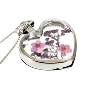 Heart Glass Dried Flower Pendant Necklace