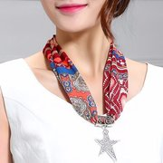 Simple Alloy Rhinestone Star Pendant Scarf Necklace