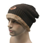Male Knitted Slouch Beanie Hat Double Layers Winter Warm Ski Outdoor Cap