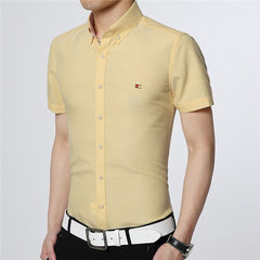 Mens Spring Summer Business Casual Solid Color Turndown Collar Short Sleeved Shirts