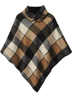 Vintage Button Plaid Printed Woolen High Collar Women Cape
