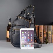 Mans Chest Bags Cowhide Leather Crossbody Bags Leisure Messenger Sling Bags