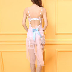 Sexy Perspective Lace Garter Backless Babydoll Bow Swallowtail See Through Mesh Nightdress For Women