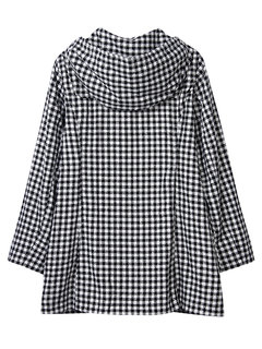 Casual Loose Hooded Plaid Long Sleeve Thicken Coat For Women