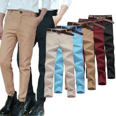 Men's Spring Summer Casual Business Solid Color Slim Fit Long Trousers Straight Pants