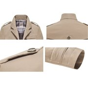 Business Casual Coat Washed Cotton Turndown Collar Jacket for Men