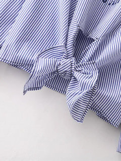Ethnic Long Sleeve Embroidery Stripe Bow Tie Women Shirts