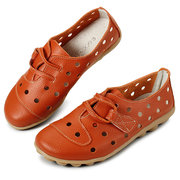 Socofy Hollow Out Hook Loop Leather Lace Slip On Flat Shoes
