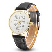 Simple PU Leather Follow Your Arrow Alloy Watch