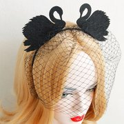 Retro Cosplay Headband Two Black Swan Lace Veil Party Headband