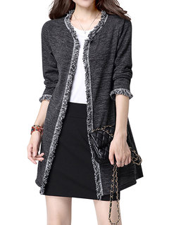 Fashion Elegant Pure Color Tassels Stitching Cotton Cardigan For Women