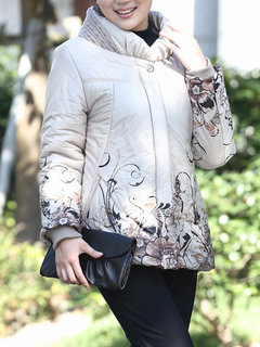 Women Fashion Elegant Printing Stand Collar Ribbed Sleeve Warm Thicken Coat