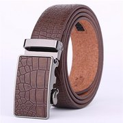 Men Embossing Gird  Automatic Buckle Black Brown Second Layer Leather Belt  Business Strap