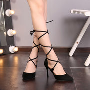 Sexy Cross-Strap Banding Sandal Ladies Pointed Toe High-Heeled Shoes