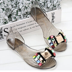 Butterflykont Beaded Crystal Transparent Peep Toe Slip On Flat Beach Sandals