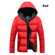 Winter Casual Thicken Warm Solid Color Hooded Padded Jacket For Men