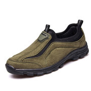 Men Suede Breathable Sweat Absorbing Slip On Casual Shoes