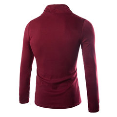 Mens Fall Winter Pullover Solid Color High Collar Elastic Soft Slim Fit Knitted Sweater