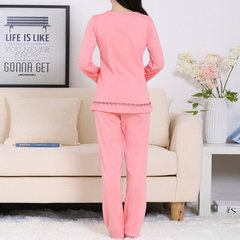 Cozy Round Collar Embroidery Pajamas Long Sleeve Sleepwear Sets For Women