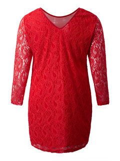 Sexy Women Long Sleeve Hollow Hand-Crocheted Lace Dress