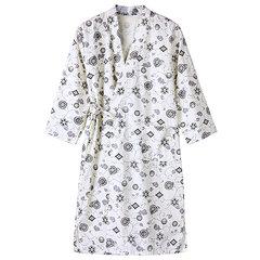 Comfortable Cotton Loose Printing Kimono Bathrobe Breathable Pajamas For Adults
