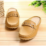 Big Size Metal Chain Leather Buckle Open Heel Casual Slip On Flat Lazy Shoes Loafers