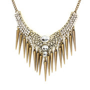 Vintage Luxury Full Rhinestone Short Paragraph Rivets Necklace for Women