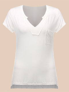 Sexy V Neck Low Cut Short Sleeve Pure Color T-shirt For Women