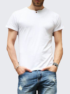 Mens Slim Fit Base Tshirts Single Button Decoration Solid Color Short Sleeved T Shirts