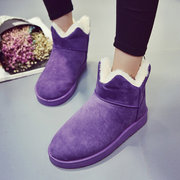 Pure Color Pu Slip On Ankle Cotton Fur Lining Boots