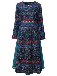 O-NEWE Ethnic Vintage Floral Printing Pankou Long Sleeve Stitching Hem Dress For Women