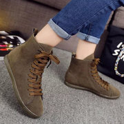 Pure Color Suede Heel Increasing Flat Lace Up Ankle Boots For Women