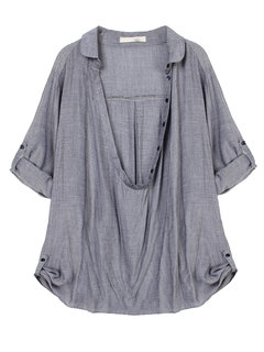 Casual Women Solid Adjustable Sleeve Blouse