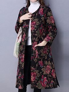 Folk Printed Female Long Sleeve Pocket Cotton Linen Thickening Coat