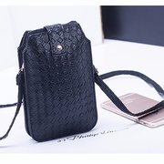 Woman Weaving 6 Inch Phone Wallet Casual Clutches Bags For Iphone Samsung Sony Huawei