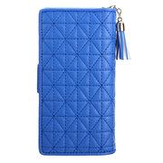 Women Stylish Tassel Pendant Plaid Long Wallet Card Holders Purse