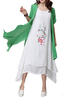 Women Vintage Embroidery Short Sleeve Two Pieces Dress