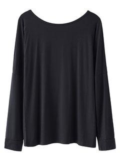 Женщины Повседневная Solid Color Backless O-образным вырезом с длинным рукавом футболка